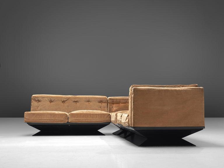 Luigi Pellegrin for MIM Roma Sectional Sofa in Light Brown Velvet Upholstery For Sale 1