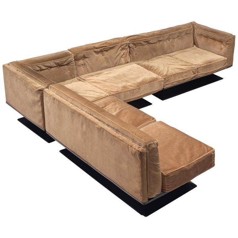 Luigi Pellegrin for MIM Roma Sectional Sofa in Light Brown Velvet Upholstery For Sale