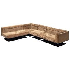 Luigi Pellegrin Sectional Lounge Set in Beige Velvet