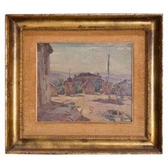Luigi Polverini 20th Century Rectangular Plywood Italian Signed Painting, 1940