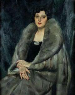 Portrait of a Roman Noblewoman - Original Painting by Luigi Polverini - 1935