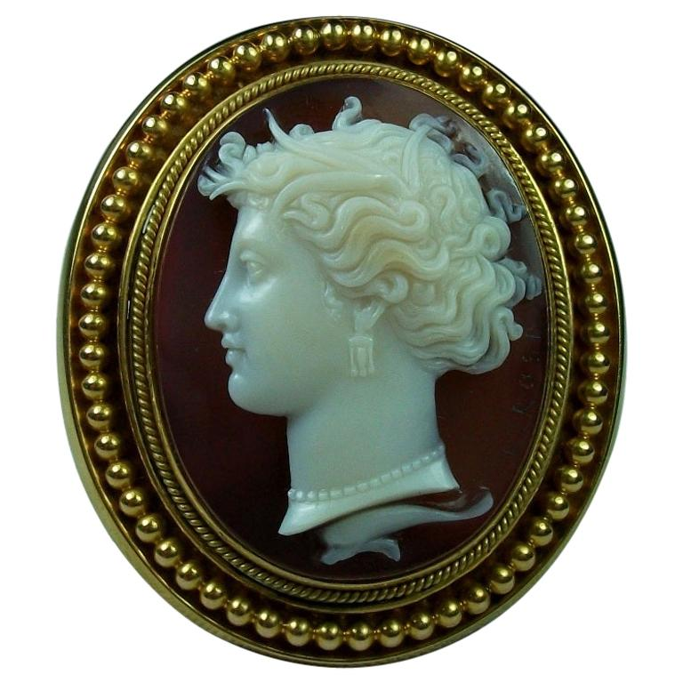 Luigi Rosi Antique Victorian Nymph Arethusa Hard Stone Cameo Brooch