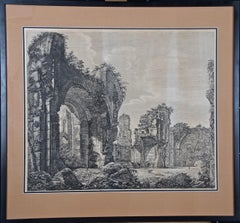19th Century Etching of the Ancient Caracalla Baths in Rome by Luigi Rossini