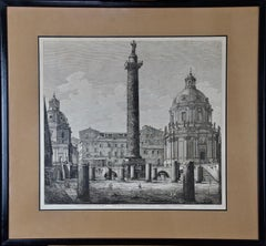 19th Century Etching of the Ancient Column of Trajan in Rome by Luigi Rossini
