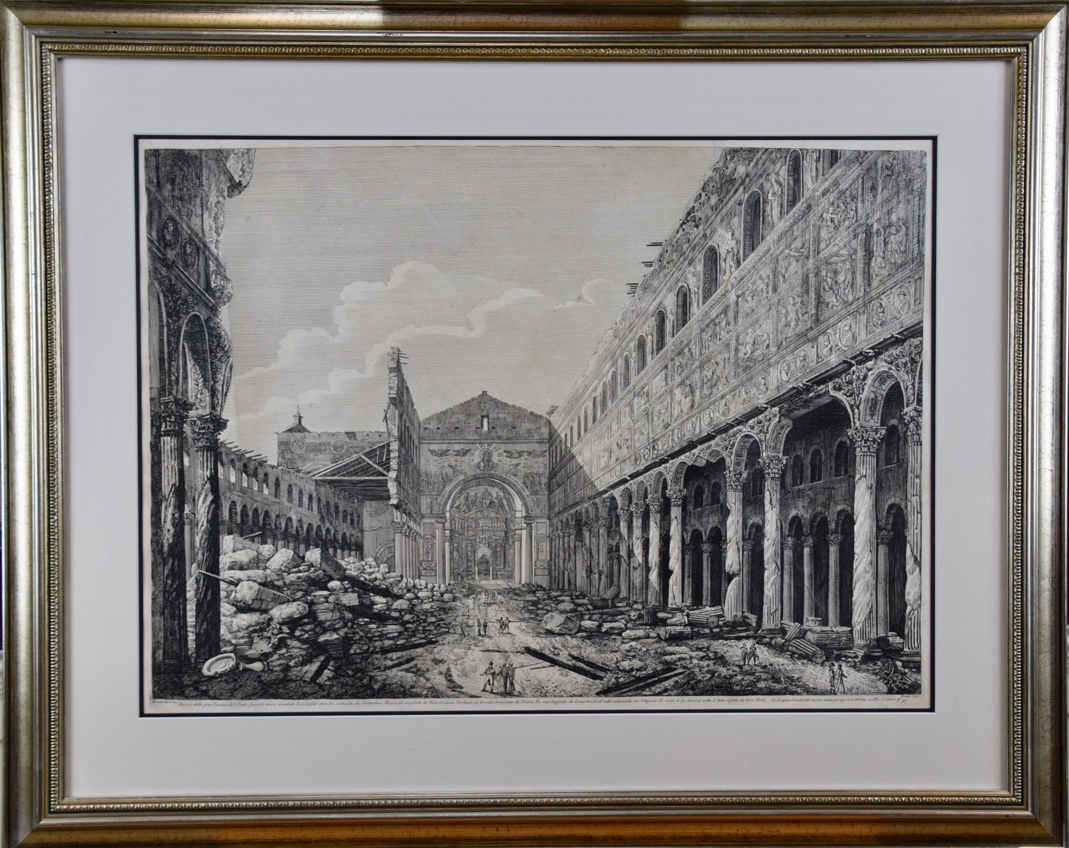 The Basilica of St. Paul in Rome, Early 19th Century Etching by Luigi Rossini