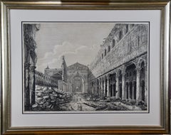 Rossini Etching of The Basilica of St. Paul in Rome, 19th Century