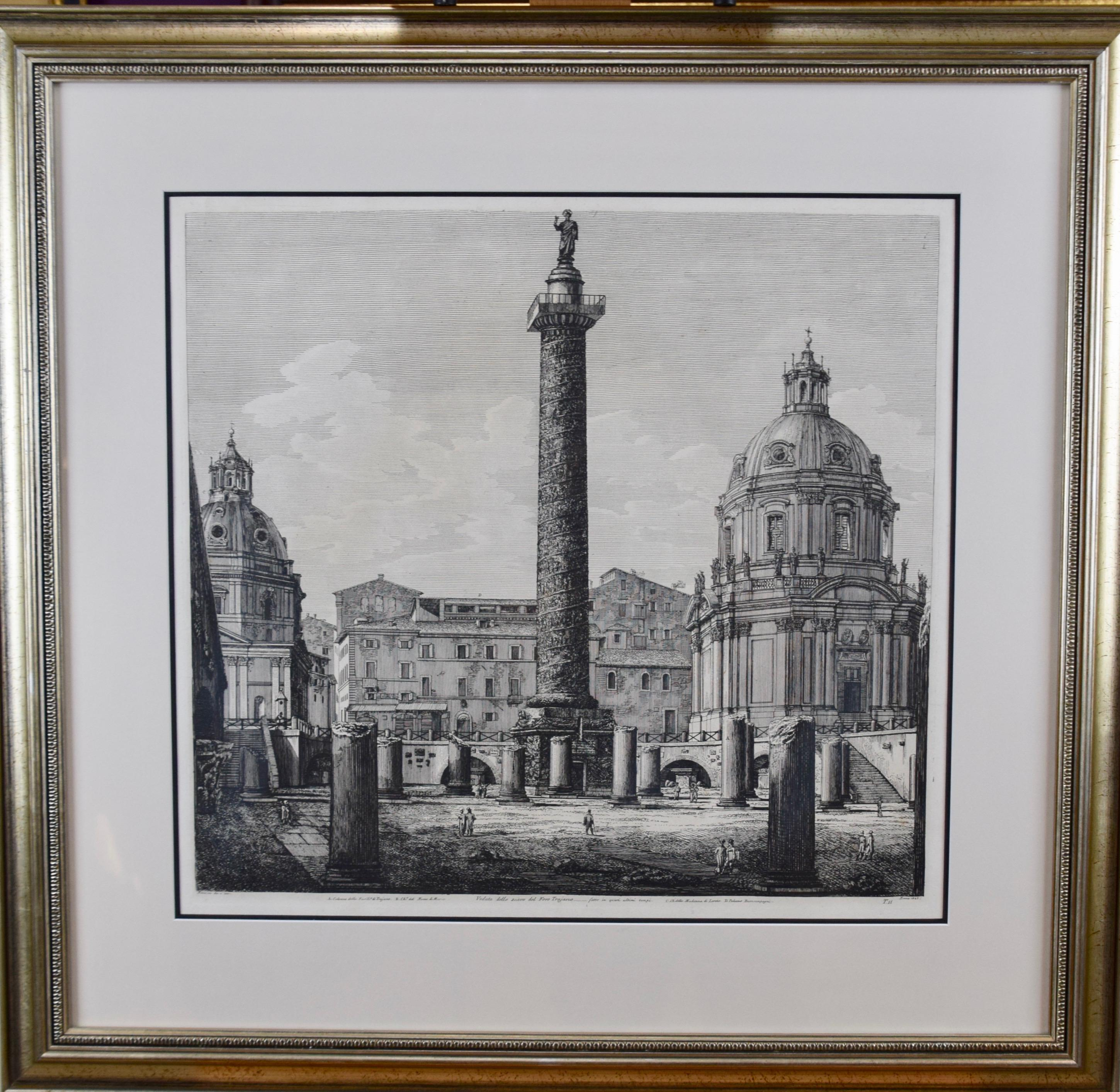 The Column of Trajan in Rome, 19th Century Framed Etching by Luigi Rossini