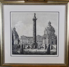 19th Century Etching of The Column of Trajan in Rome by Luigi Rossini