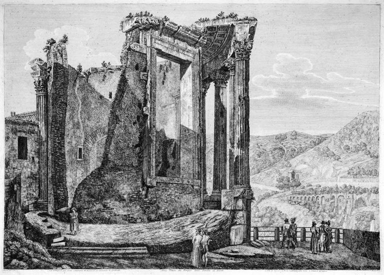 "Altra Veduta del Tempio di Sibilla in Tivoli Image dimensions: 46x65 cm. From the collection ""Le antichità de' contorni di Roma""(..), Rome, 1826 by L. Rossini, an artist's proof with sharp details, representing Temple Ruins in Tivoli. Signed on"