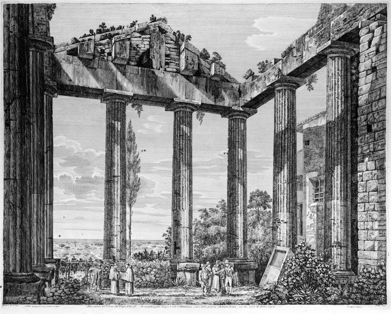 Luigi Rossini Figurative Print - Altro interno del Pronao del Tempio d'Ercole - by L. Rossini - 1825