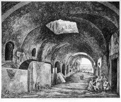 Androne della Villa di Mecenate a Tivoli - Original Etching by L. Rossini - 1824