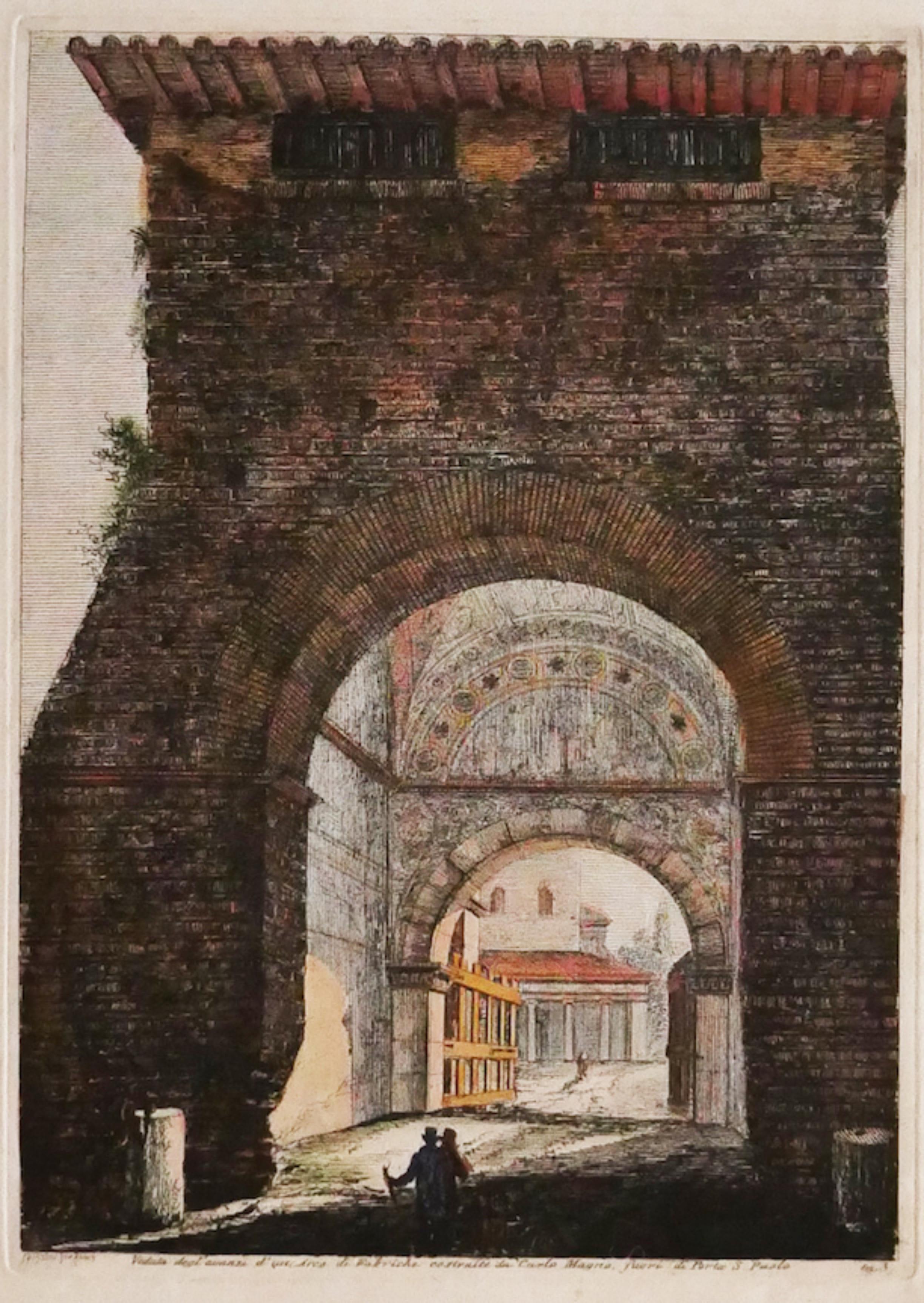 Arch - Original Etching by Luigi Rossini - 19th Century