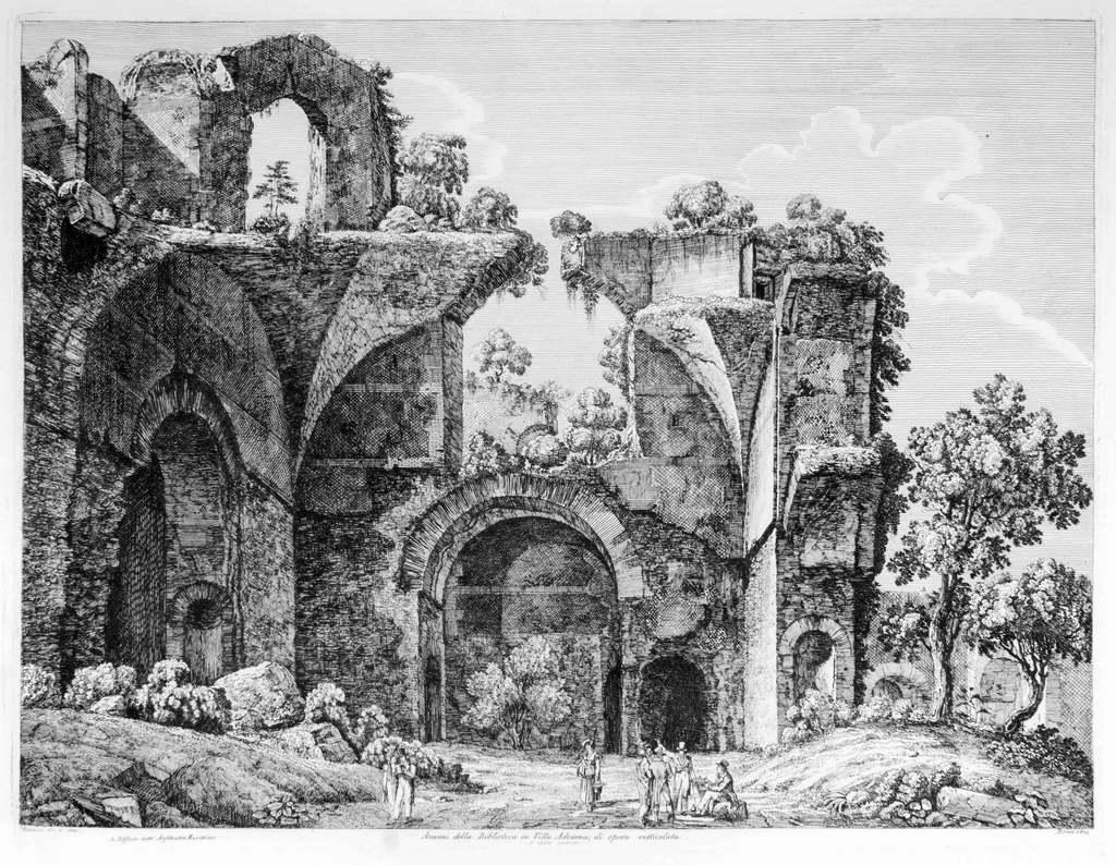 Avanzi della Biblioteca ... - Original Etching by Luigi Rossini - 1824