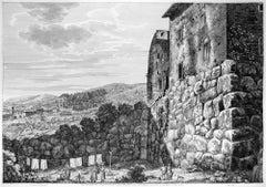Avanzi delle grandi Mura ciclopee... - Original Etching by L. Rossini - 1825
