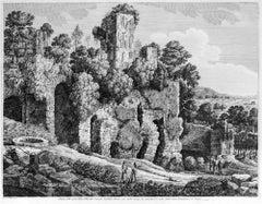 Avanzi delle rovine della Villa... - Original Etching by L. Rossini - 1826