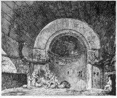 Avanzi di una Sala Termane... - Original Etching by L. Rossini - 1824