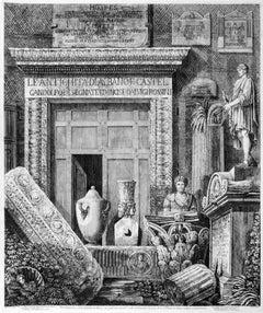 Frontespizio delle Antichità di Albano -Original Etching by Luigi Rossini - 1824