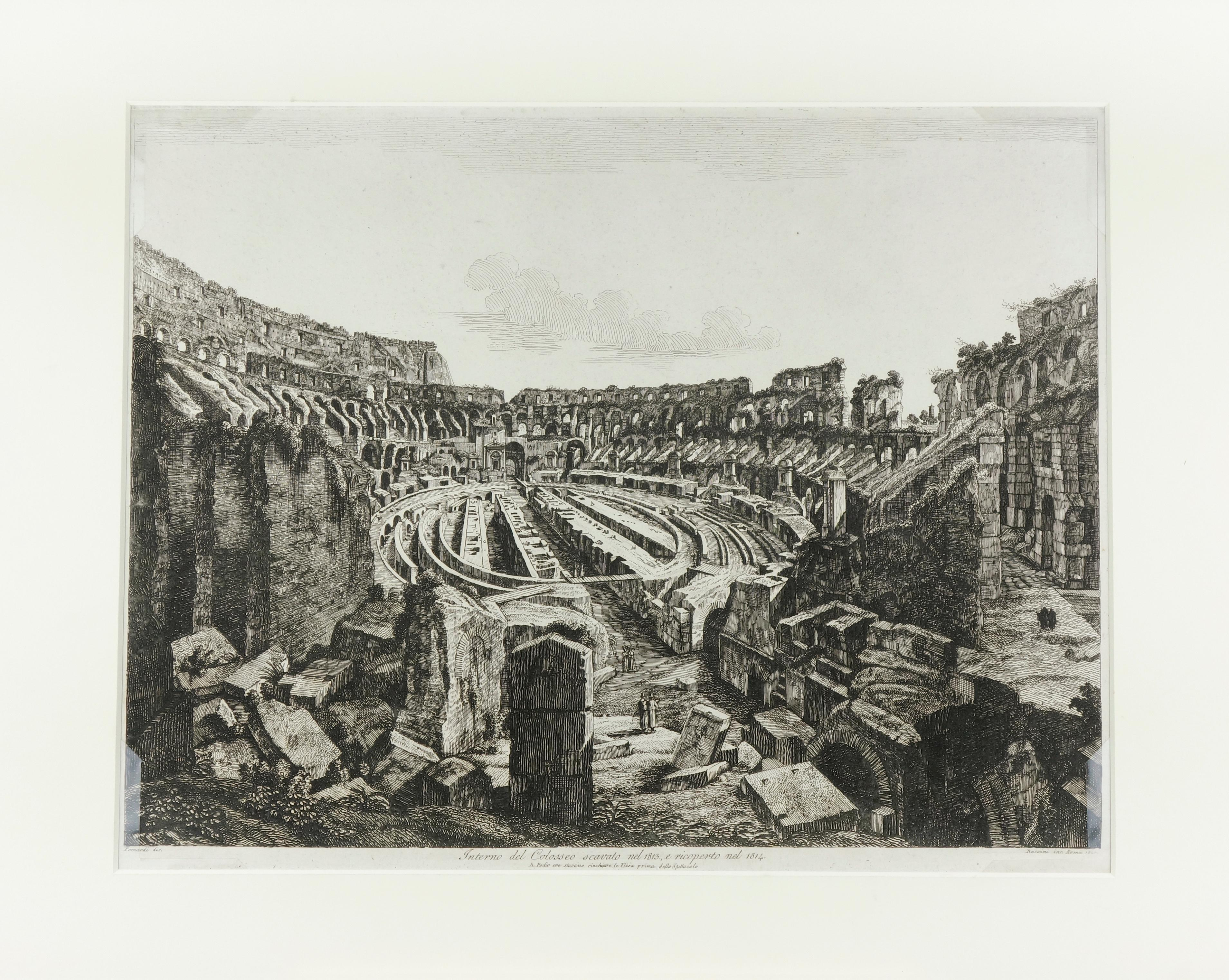 Interior of the Colosseum in Rome, excavated in 1813 and reconstructed in 1814