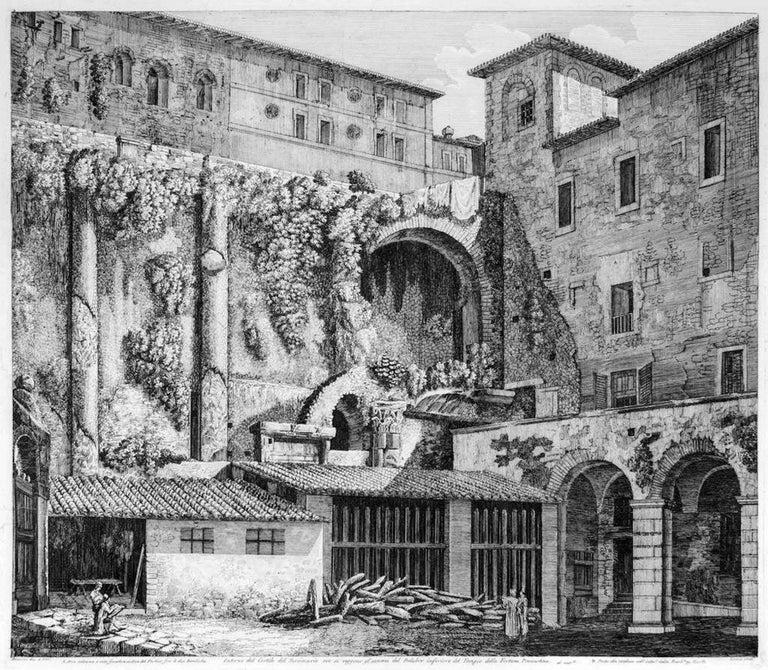 Luigi Rossini Figurative Print - Interno del Cortile del Seminario - Original Etching by L. Rossini - 1824