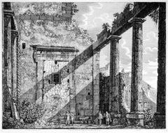 Interno del Pronao del Tempio ... - Original Etching by Luigi Rossini - 1825