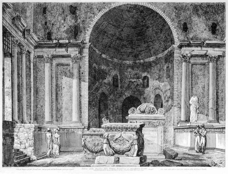 Luigi Rossini Figurative Print - Interno della Basilica della Fortuna Prenestina - by L. Rossini - 1826