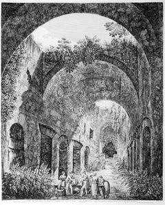 Interno della Nave di mezzo... - Original Etching by Luigi Rossini - 1824
