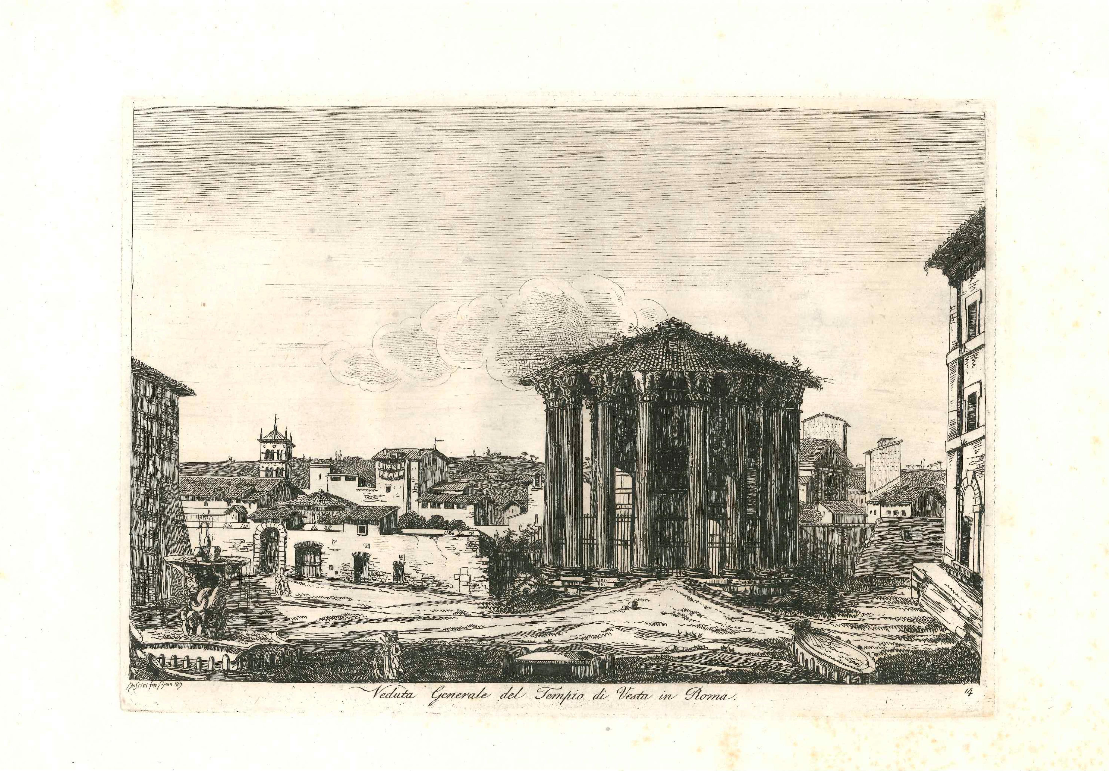 Landscape Figurative Engraving Print View Of Rome by Luigi Rossini 19th Century