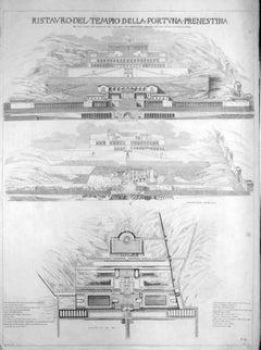 Ristauro del Tempio della Fortuna Prenestina - Etching by L. Rossini - 1826