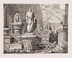 Roman Ruins - Original Etching on Paper by Luigi Rossini - 1826