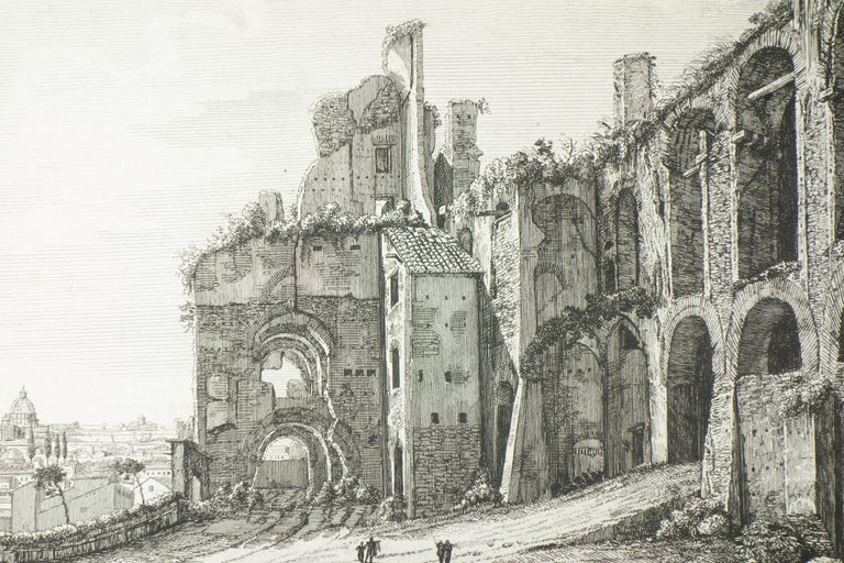 Ruins of the Golden House of Nero, on Monte Palatino, Rome - Print by Luigi Rossini