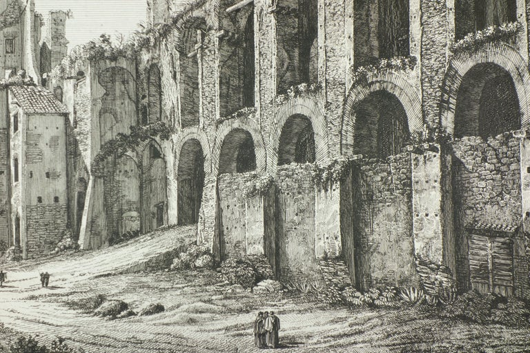 Ruins of the Golden House of Nero, on Monte Palatino, Rome - Realist Print by Luigi Rossini