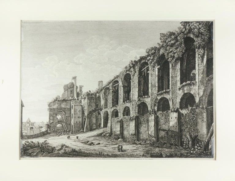 Luigi Rossini Landscape Print - Ruins of the Golden House of Nero, on Monte Palatino, Rome