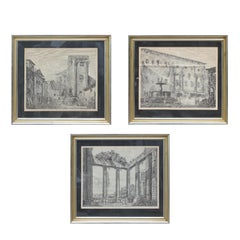 Set of 3 Etchings of Roman / Italian Architectural Landscapes