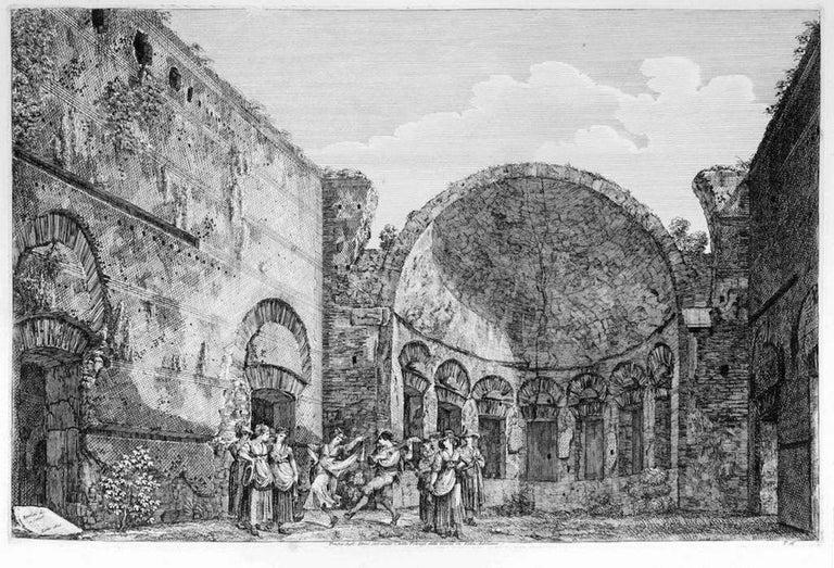 Luigi Rossini Figurative Print - Tempio degli Stoici... - Original Etching by L. Rossini - 1825