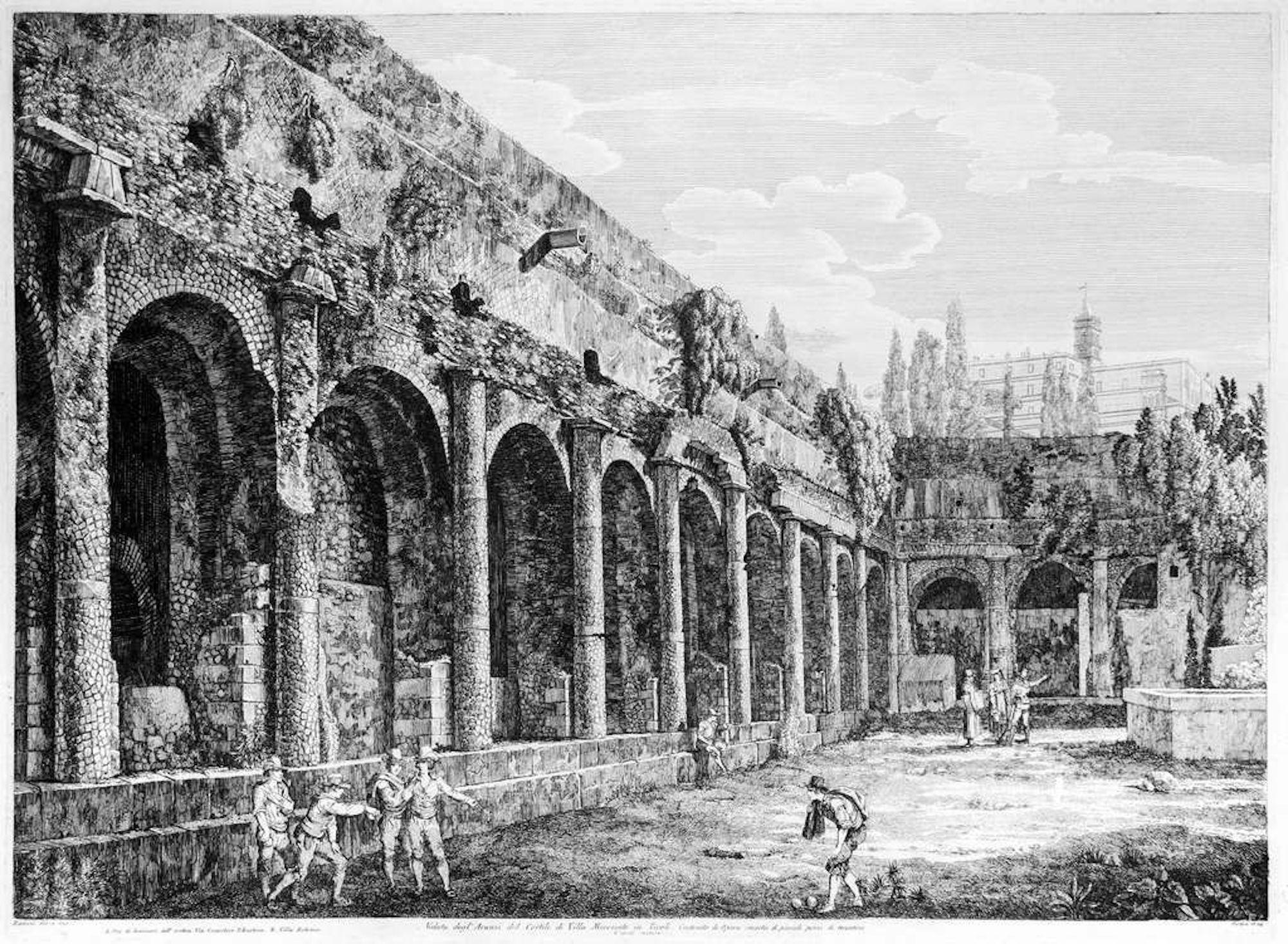 Veduta degl'Avanzi del cortile di Villa Mecenate in Tivoli -  by Rossini - 1824