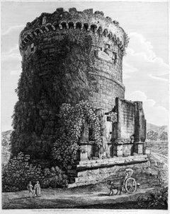 Veduta degli Avanzi del Sepolcro della Famiglia Plauzia -  by L. Rossini - 1824