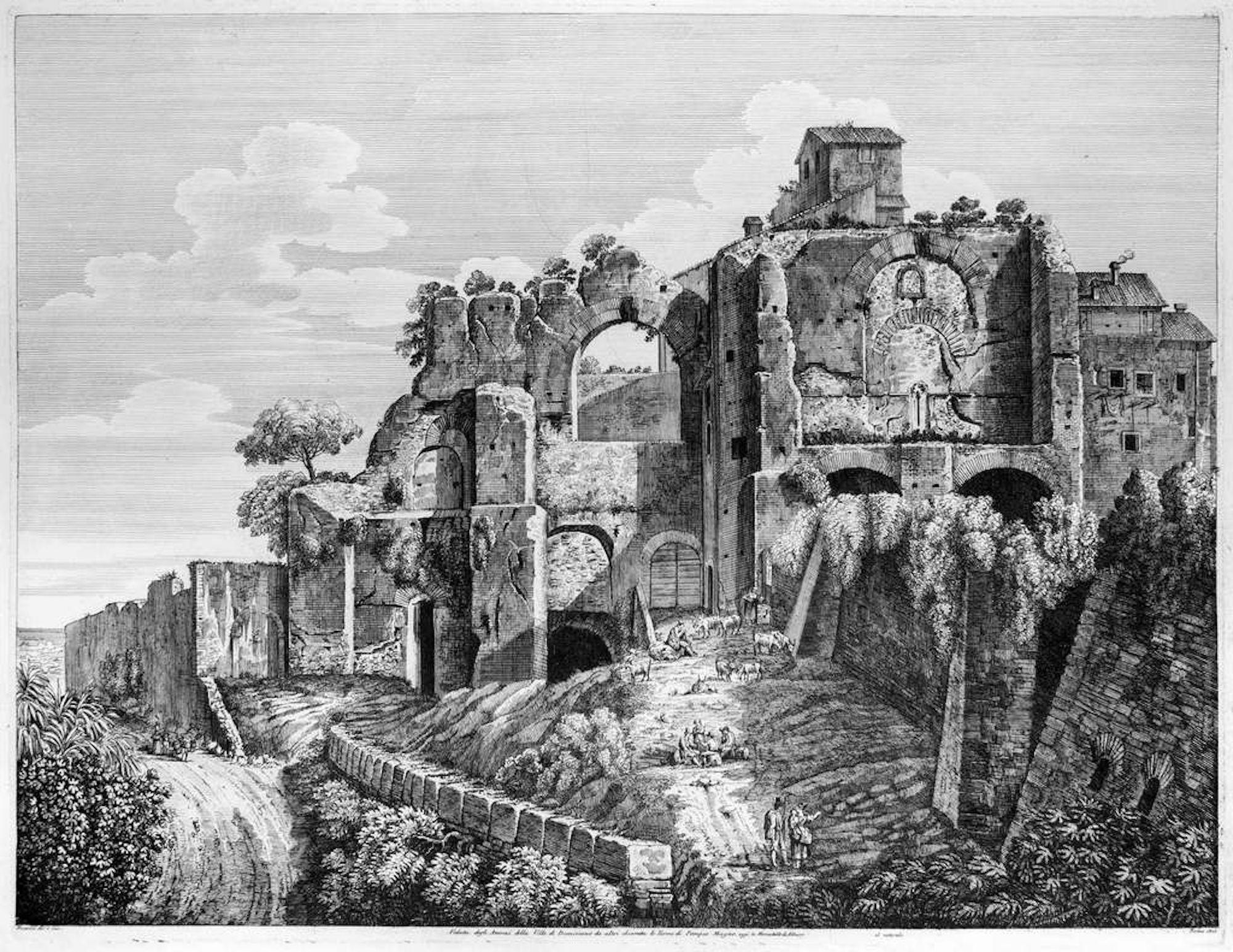 Veduta degli Avanzi della Villa... - Original Etching by L. Rossini - 1825