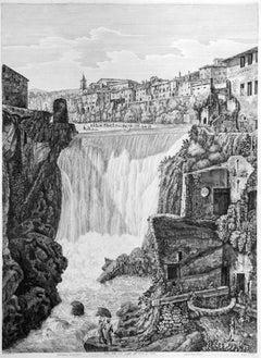 Veduta della Gran Caduta dell' Aniene... - Original Etching by L. Rossini - 1825