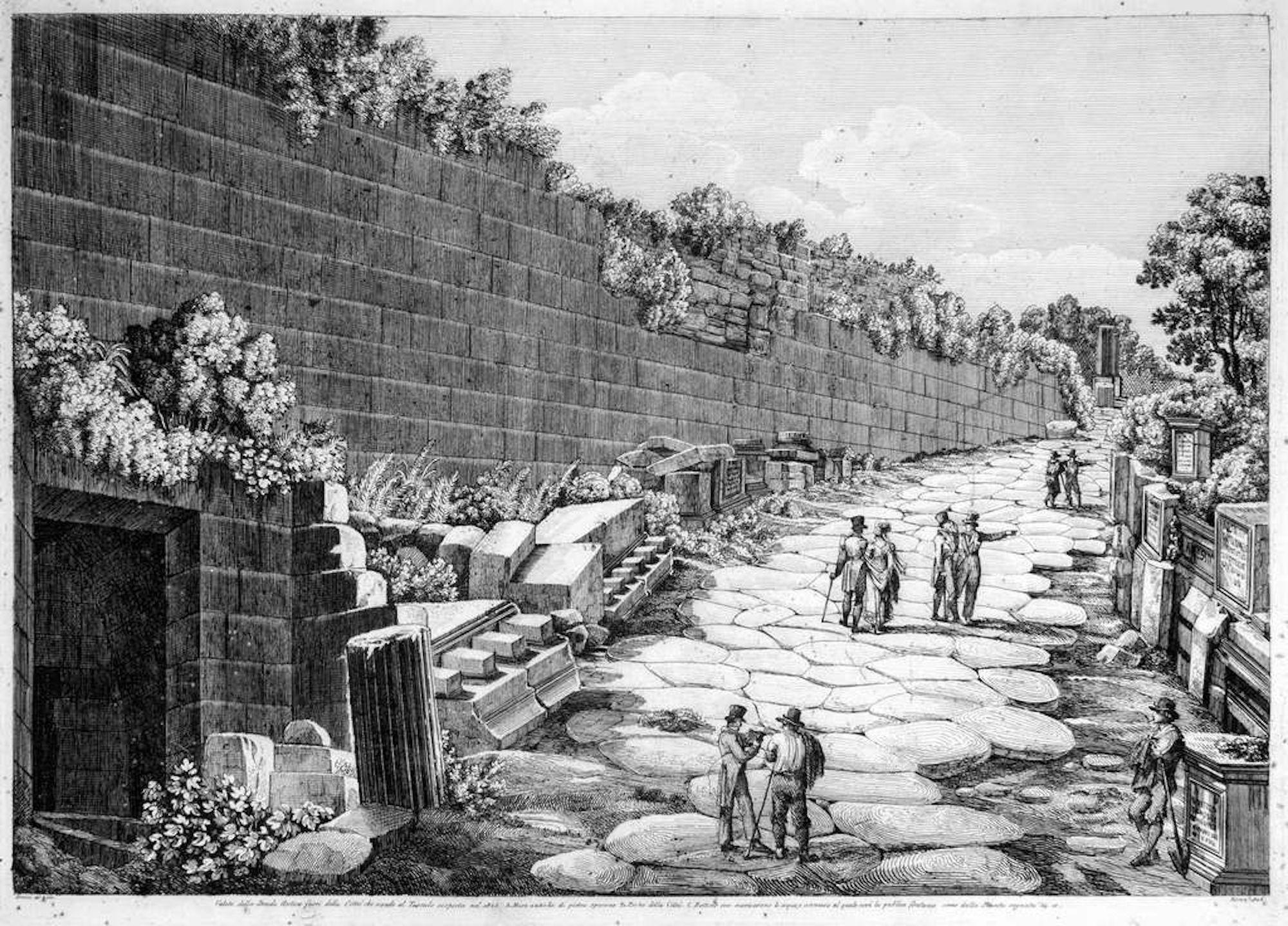 Veduta della Strada Antica fuori della Città... - by L. Rossini - 1826