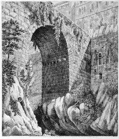 Veduta dell'antico Ponte ... - Original Etching by Luigi Rossini - 1825