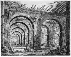 Veduta delle rovine di una Conserva... - Original Etching by L. Rossini - 1826