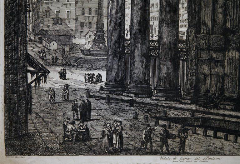 Veduta Di Fianco Del Panteon - Print by Luigi Rossini