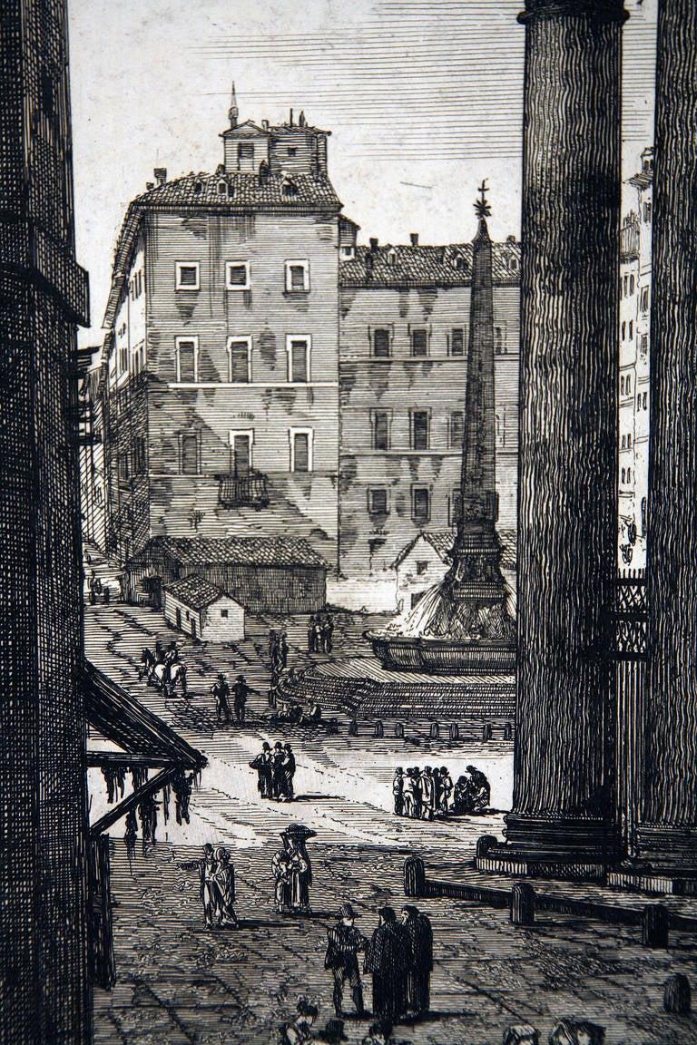 Veduta Di Fianco Del Panteon - Realist Print by Luigi Rossini