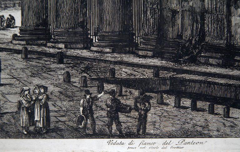 Veduta Di Fianco Del Panteon - Black Landscape Print by Luigi Rossini