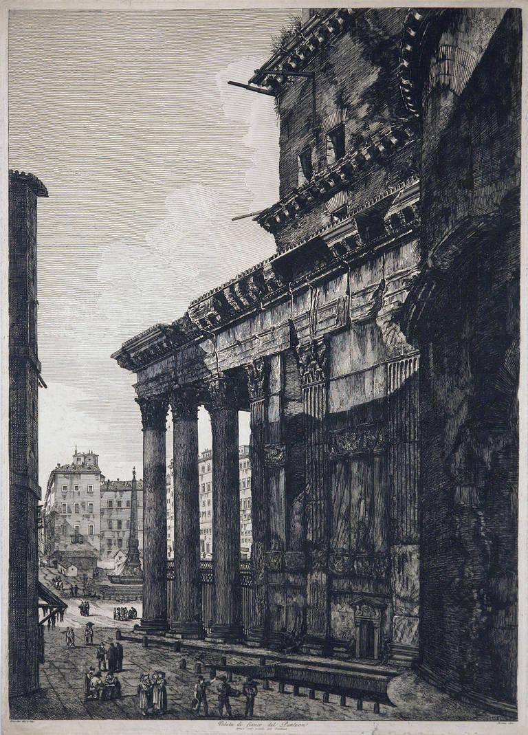 Luigi Rossini Landscape Print - Veduta Di Fianco Del Panteon
