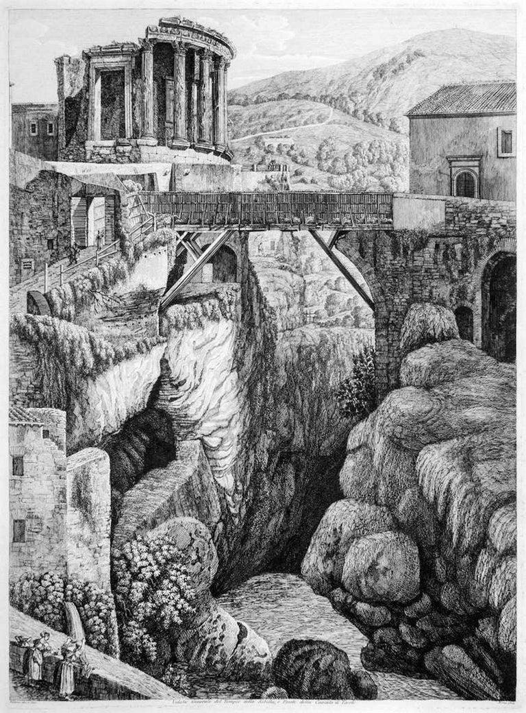 Luigi Rossini Landscape Print - Veduta Generale del Tempio della Sibilla... -  by L. Rossini - 1824