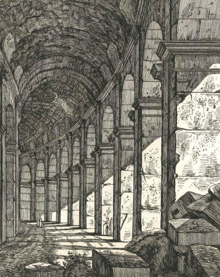 View of a Loggia of The Colosseum in Rome Engraving Signed Dated Luigi Rossini  - Realist Print by Luigi Rossini