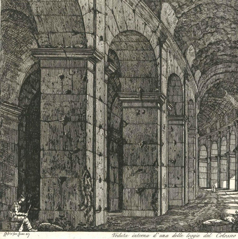 View of a Loggia of The Colosseum in Rome Engraving Signed Dated Luigi Rossini  - Gray Landscape Print by Luigi Rossini