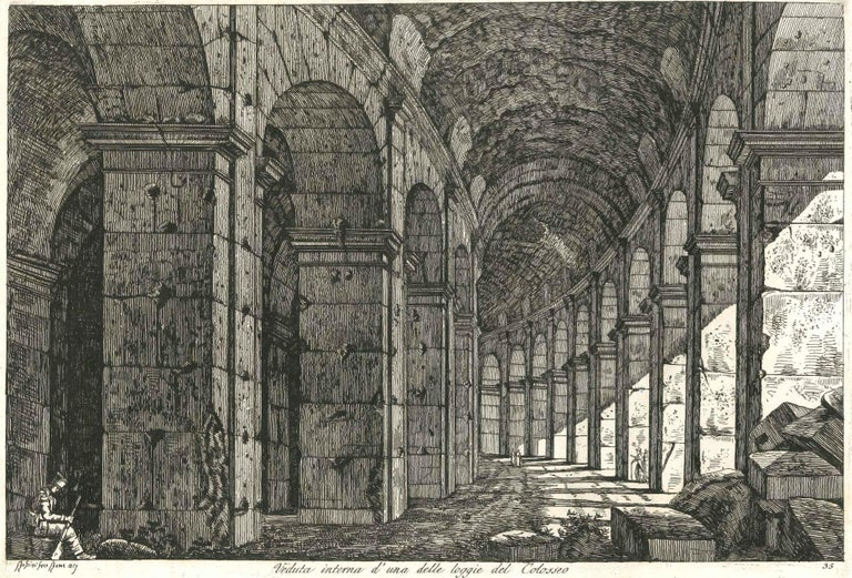 Luigi Rossini Like his predecessor Giovanni Battista Piranesi, Rossini focused on extant antique Roman architecture and excavations in Rome and its environs, and rendered in exquisite detail classical architecture of Rome and its surrounding