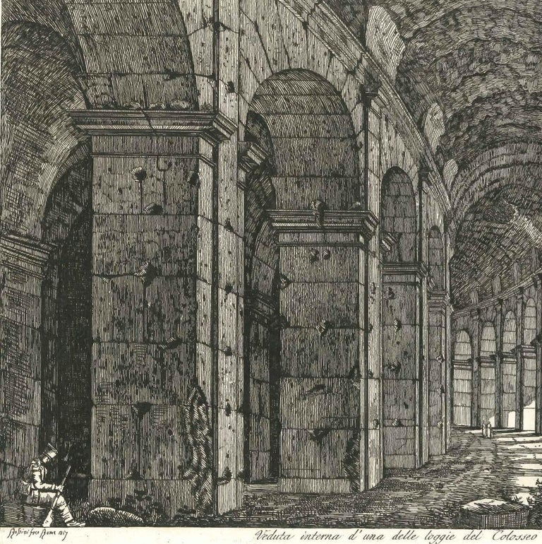 View of a Loggia of The Colosseum in Rome Engraving Signed Dated Luigi Rossini  For Sale 1